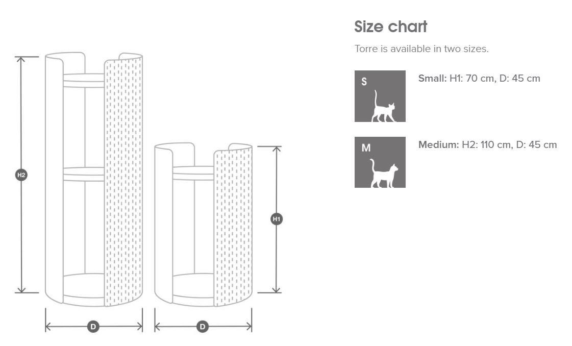 MiaCara Torre Cat Scratching Post Size